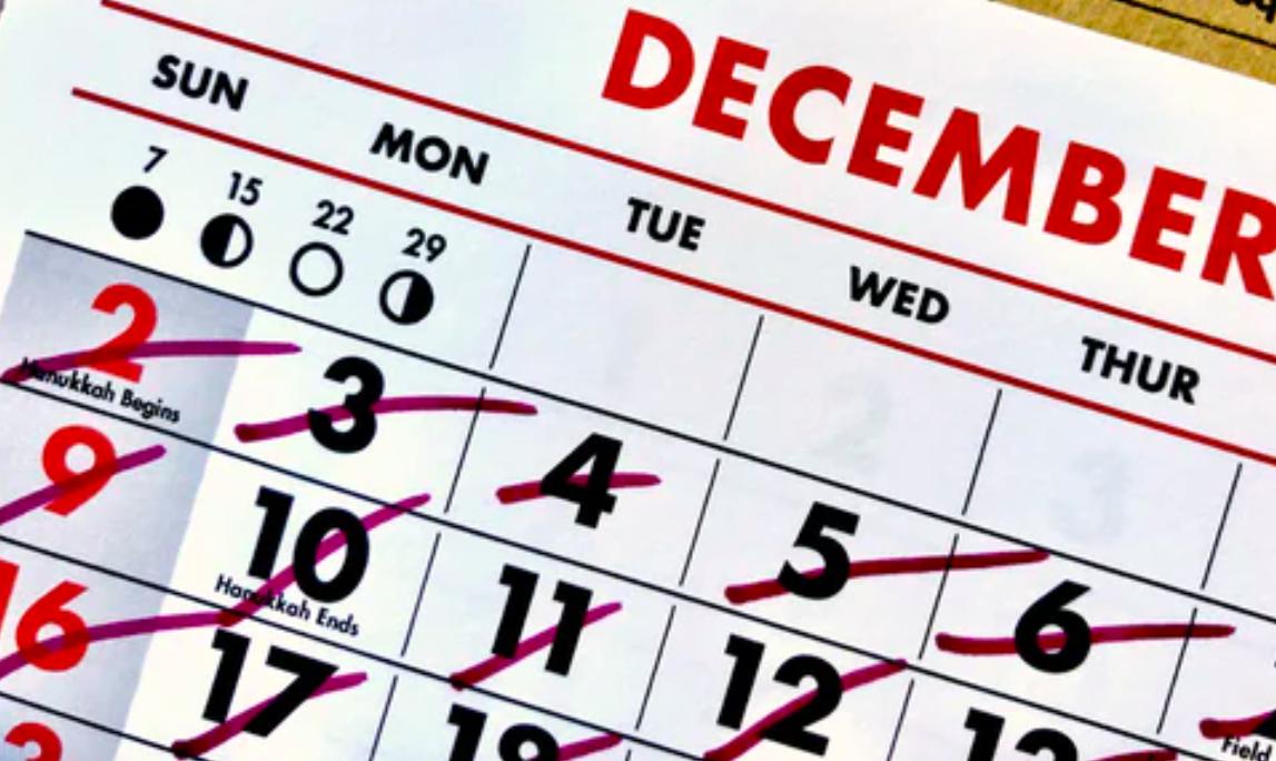 Month of December calendar
